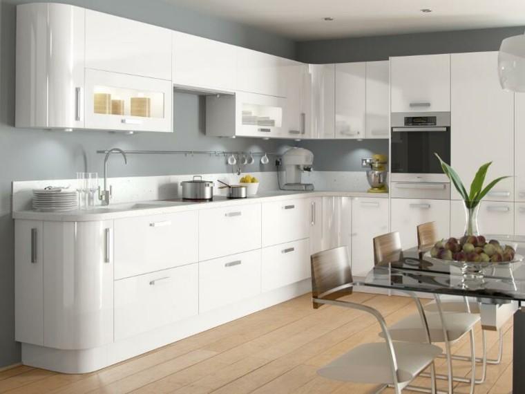 cabinetes blanco cocina elegante planta