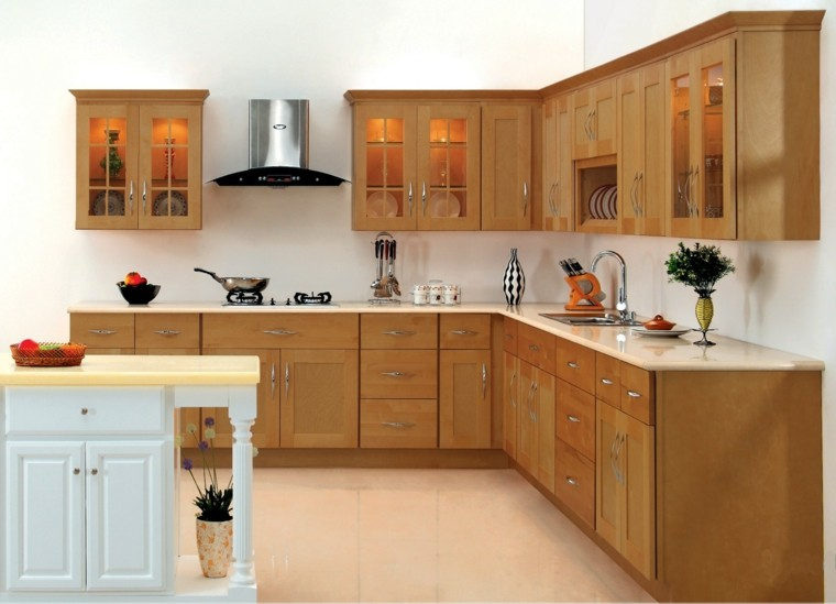 cabinetes madera plntas frutas jarrones