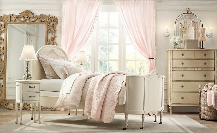 cama retro blanca espejo dorado