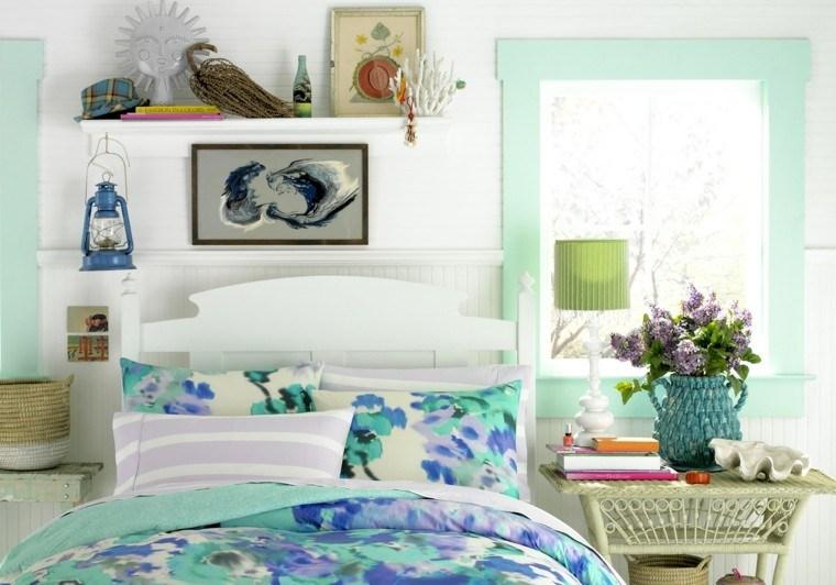 cama colcha color verde agua