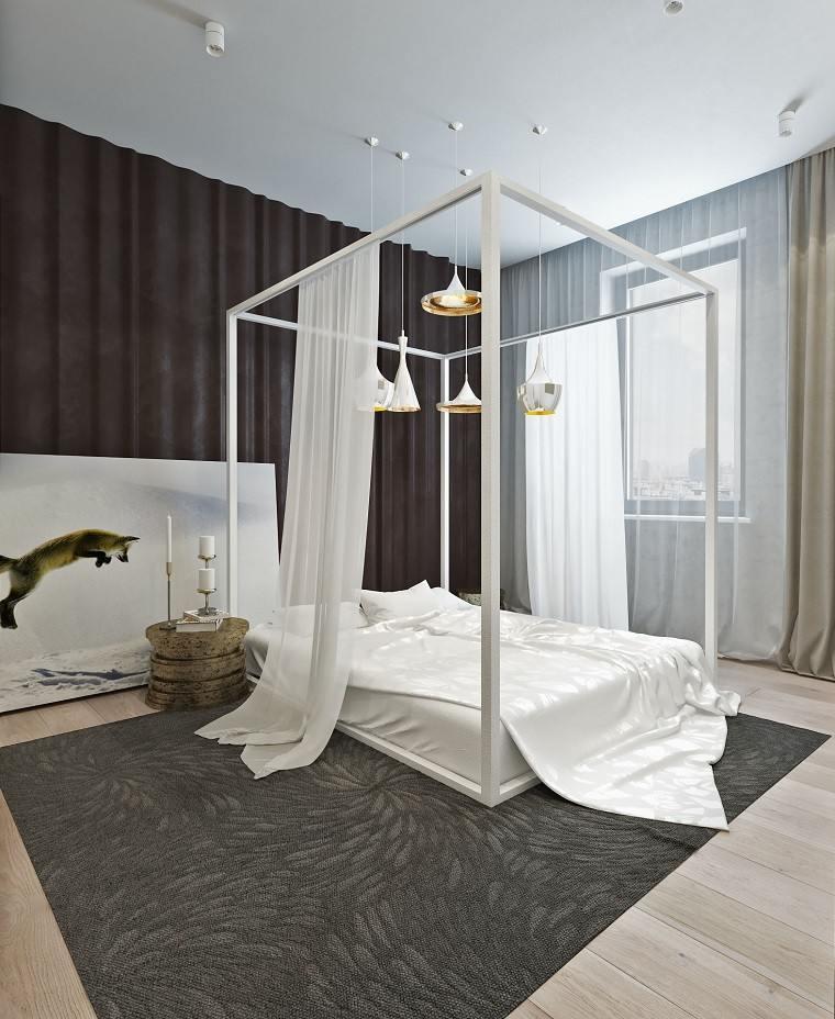 cama dosel blanca lamparas preciosas dormitorio ideas