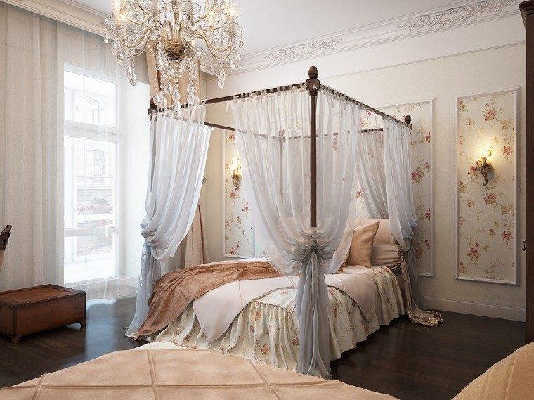 cama dosel cortinas estampa flores dormitorio romantico ideas