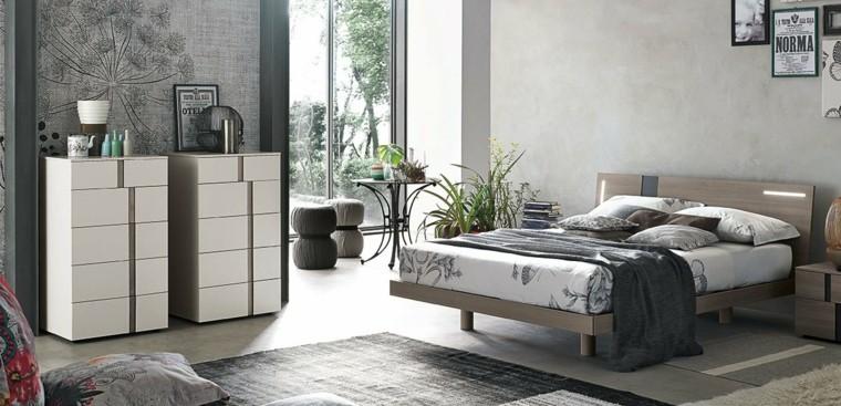 cama madera taburetes mesa ventana dormitorio ideas