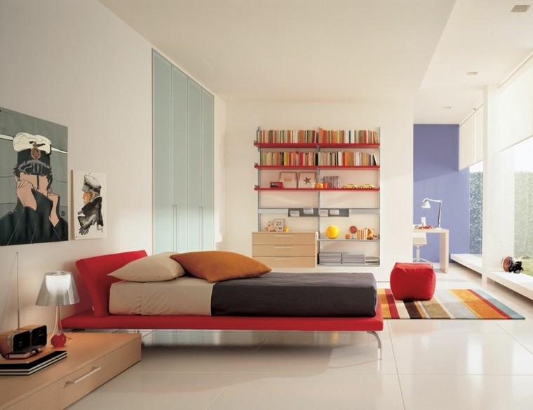 cama roja dormitorio habitacion juvenil chica