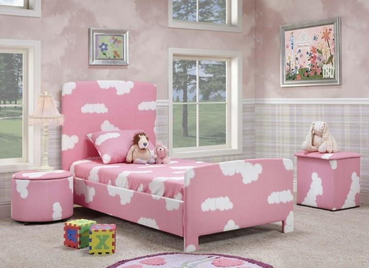 cama rosa nubes blancas habitacion juvenil chica