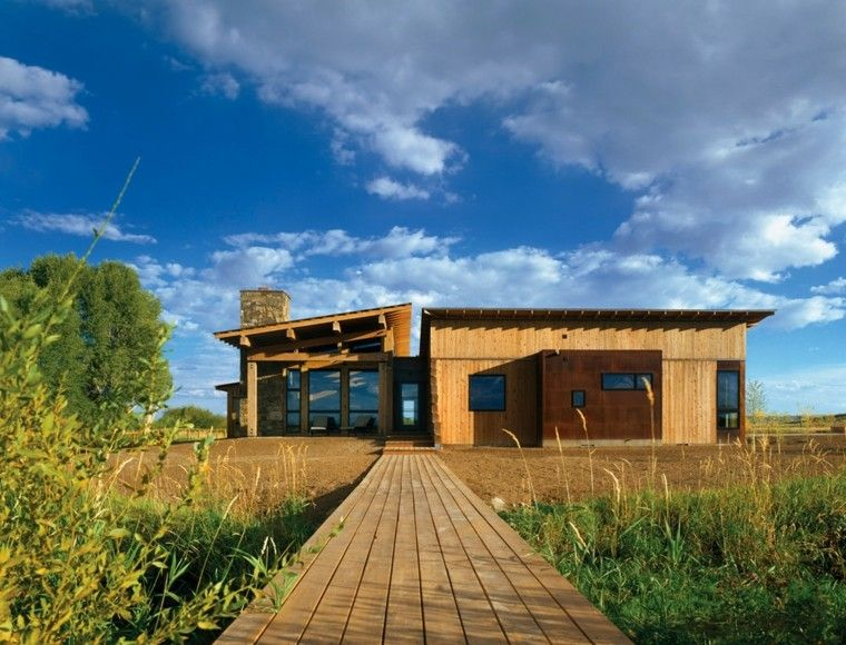 camino cabaña madera campo casa