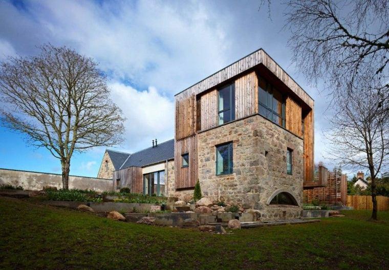 Estilo de diseño de casa de campo escocesa de madera y piedra