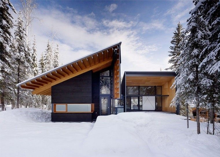 casa campo bosque nieve