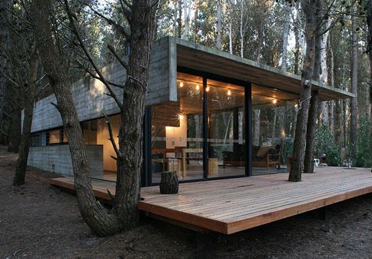 casa moderna madera bosque plataforma