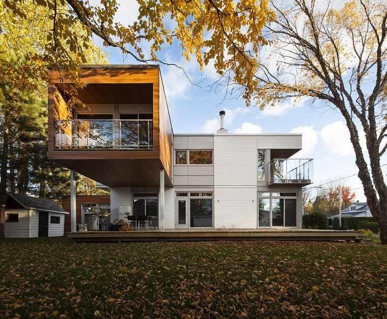 casa moderna terraza cubierta madera