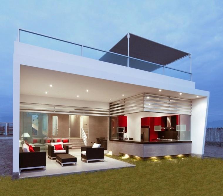 casa terraza cocina abierta muebles iluminada ideas