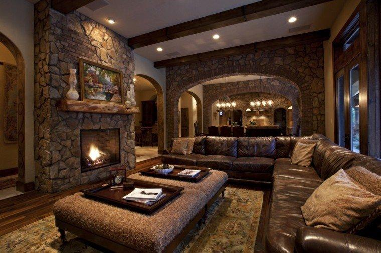 casas rusticas salon cuadros chimenea