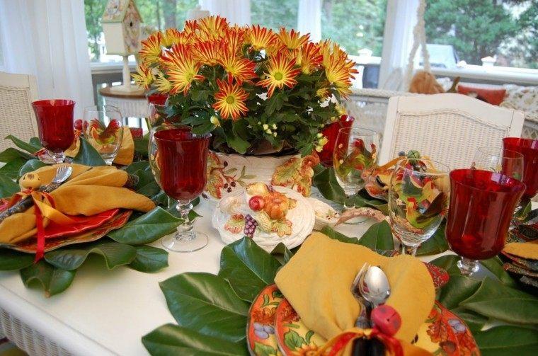 centro mesa colores paisajes de otoño