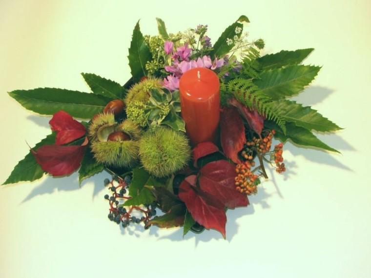 centro mesa vela roja plantas