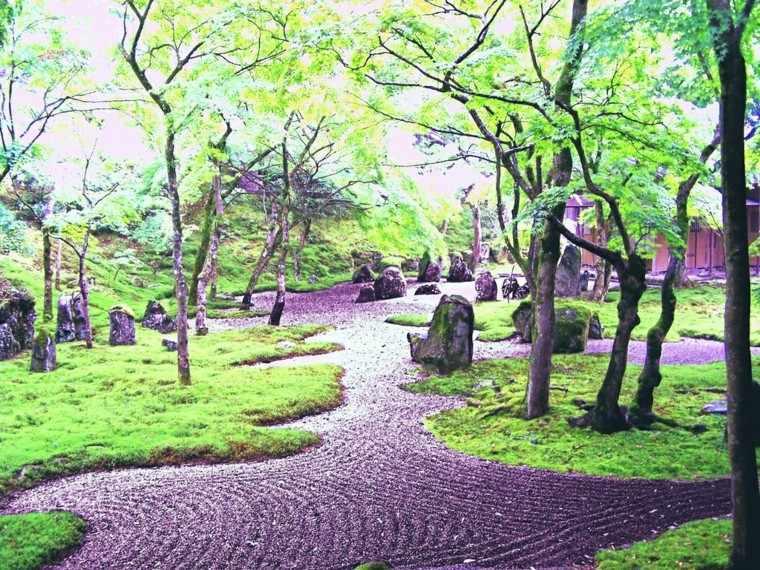cesped piedras arboles tranquilidad jardin zen ideas