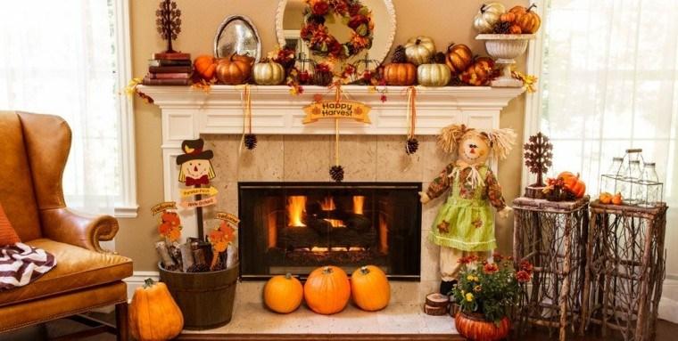 chimenea decoracion otono casa hojas ideas