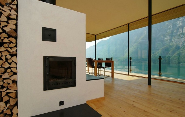 chimenea moderna troncos leña suelo