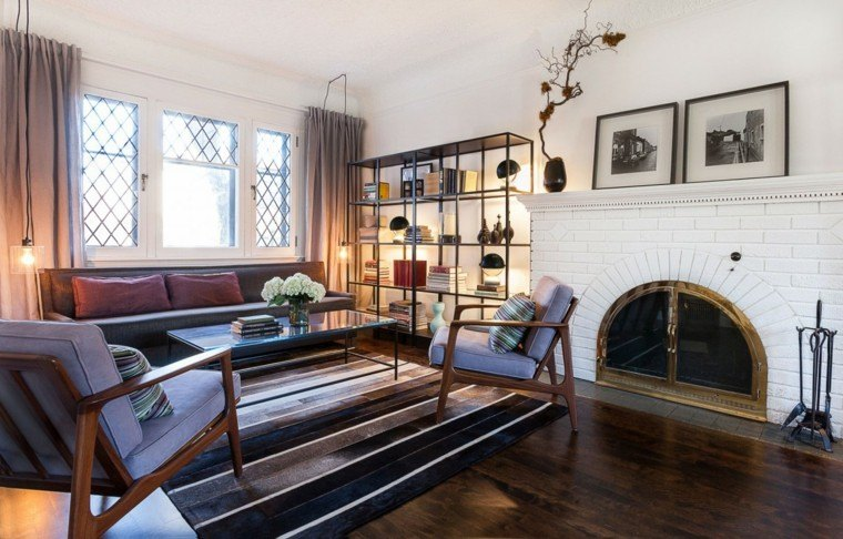chimenea salon ladrillo blanco madera moderna ideas
