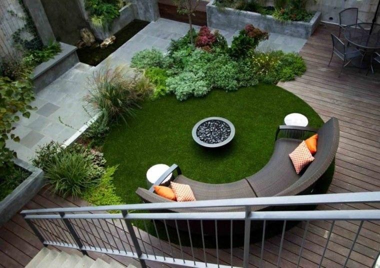 circular patio cesped hierbas moderno