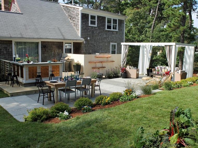 cocina aire libre mesa sillas comidas jardin ideas