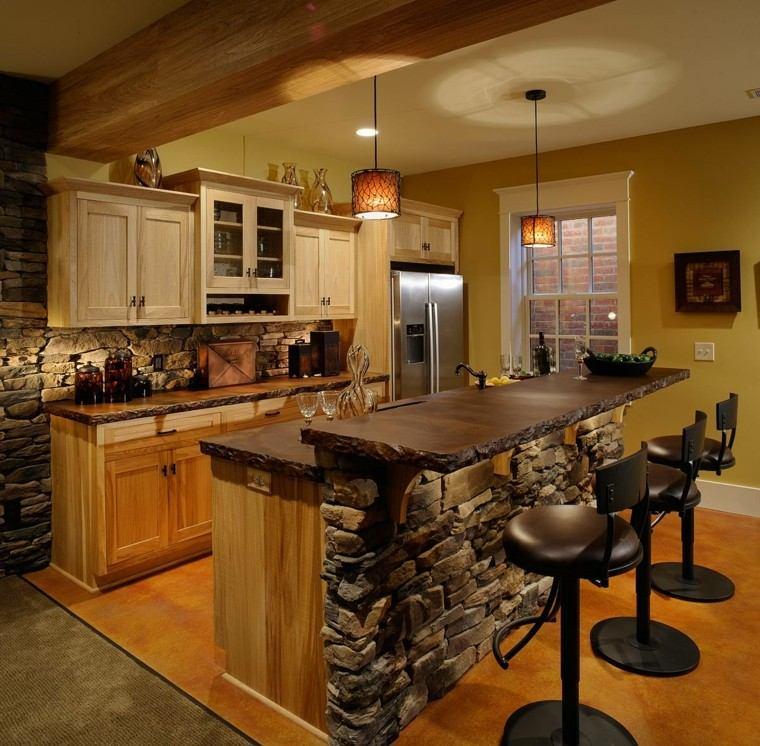 cocina americana cabaña rustica abierta