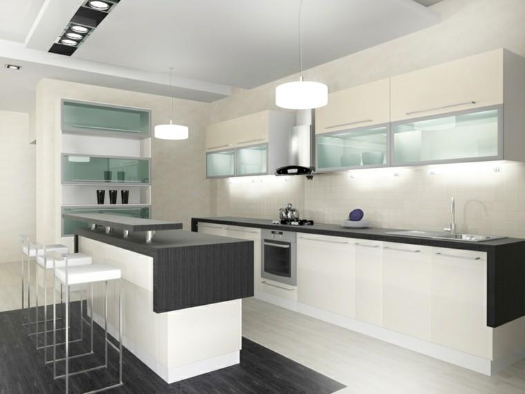 Cocina americana con barra funcionalidad en tu hogar - Cocinas alargadas modernas ...