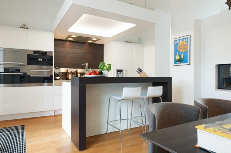 Cocina americana con barra funcionalidad en tu hogar for Planos de cocinas con barra desayunadora