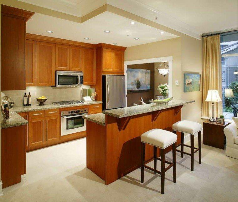 Cocina americana con barra funcionalidad en tu hogar - Taburetes para cocina americana ...