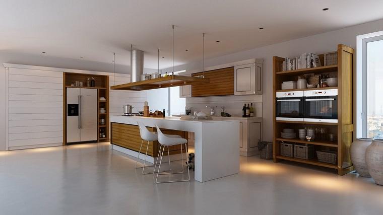 cocina amplia blanca isla madera sillas altas ideas