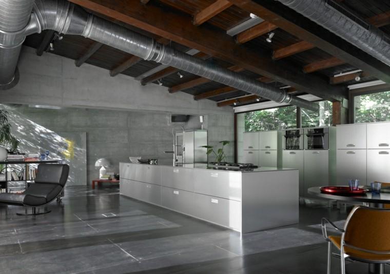 cocina amplia colores oscuros estilo industrial ideas