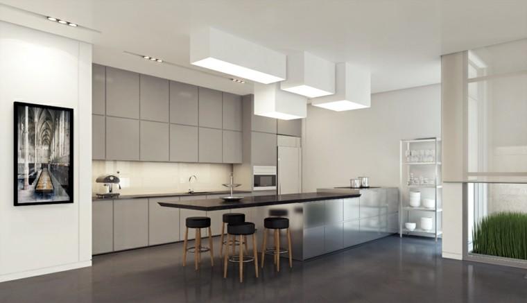 cocina armarios grises paredes blancas amplia isla sillas ideas