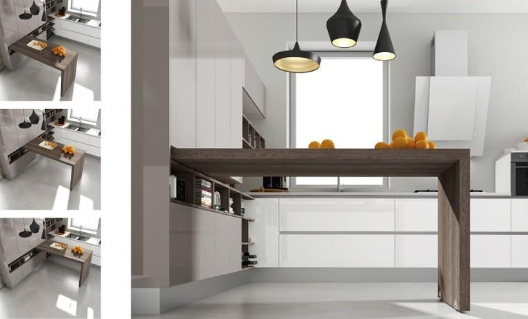 Cocina americana con barra funcionalidad en tu hogar Barra cocina madera
