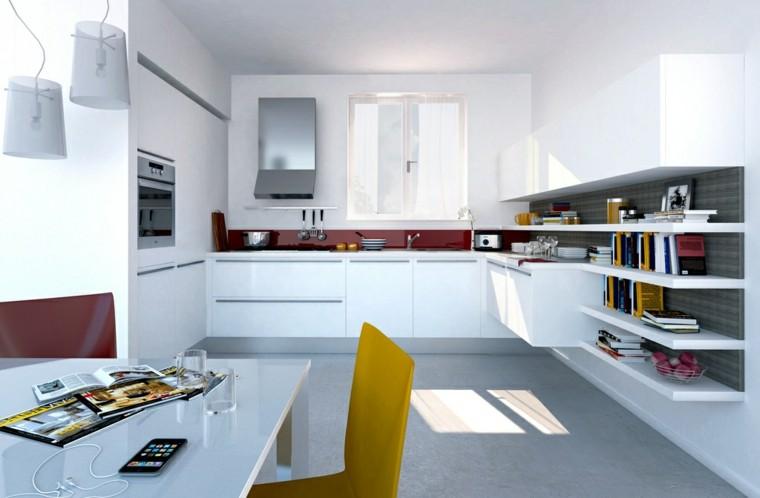 cocina blanca estanterias silla amarilla