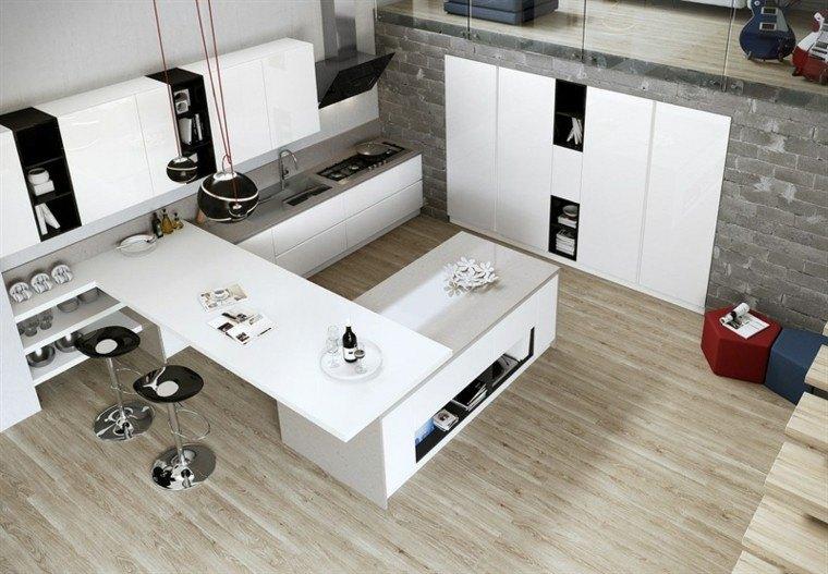 cocina blanca estilo minimalista acentos negro ideas