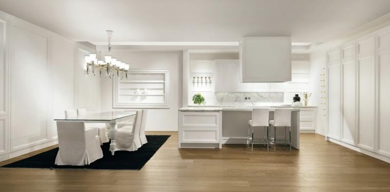cocina blanca estilo minimalista alfombra color negro ideas