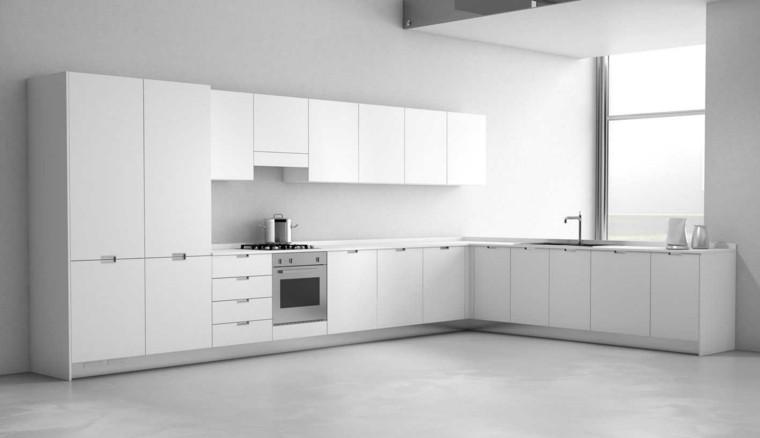 cocina blanca estilo minimalista amplia armarios ideas