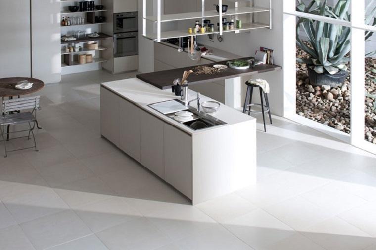 cocina blanca estilo minimalista amplia ventana ideas