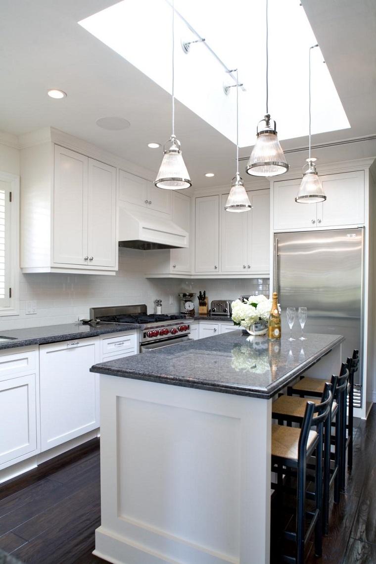 cocina blanca estilo minimalista armarios blancos madera ideas
