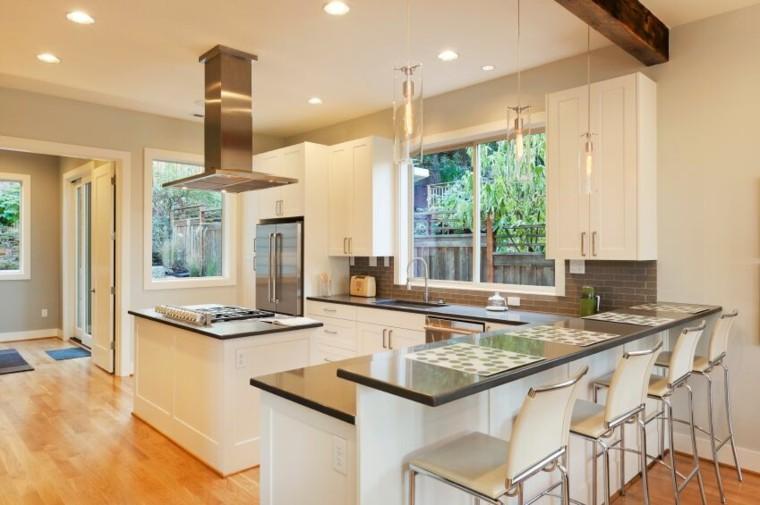 cocina blanca estilo minimalista armarios madera ideas