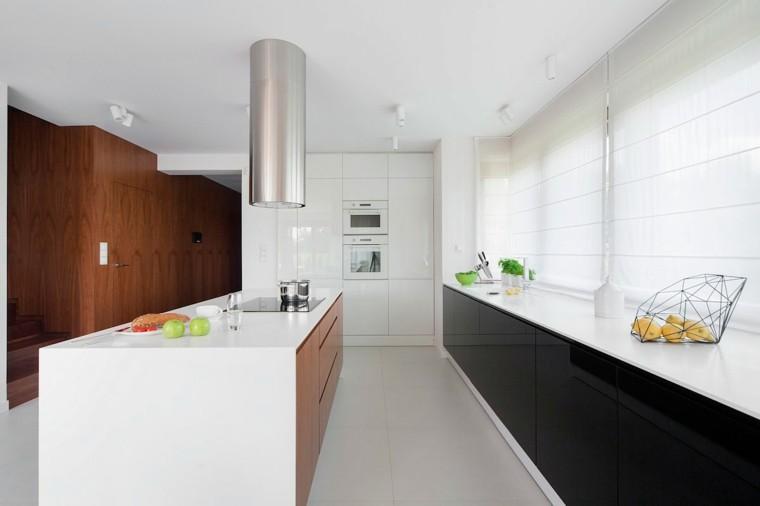 cocina blanca estilo minimalista armarios negros ideas