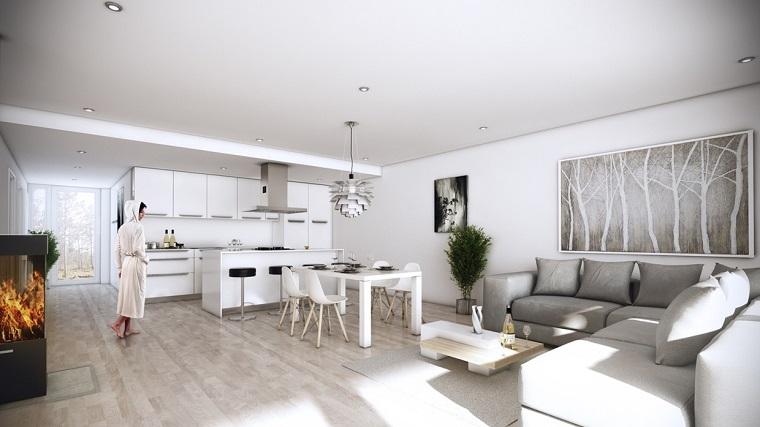 cocina blanca estilo minimalista chimenea salon abierto ideas