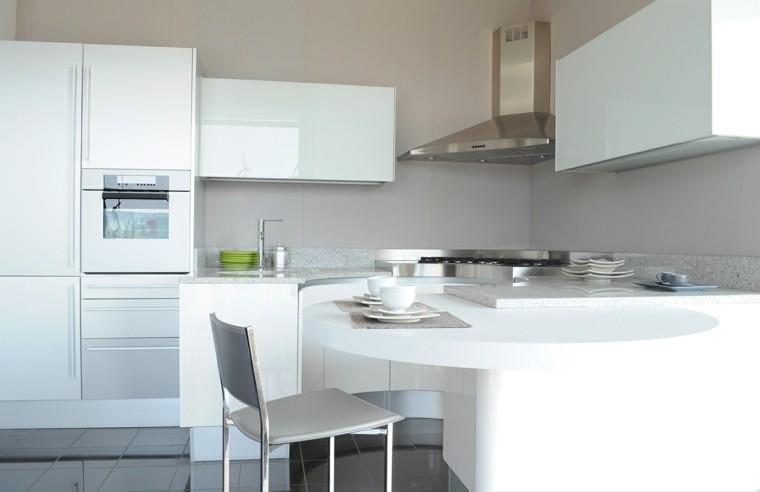 cocina blanca estilo minimalista circular interesante ideas