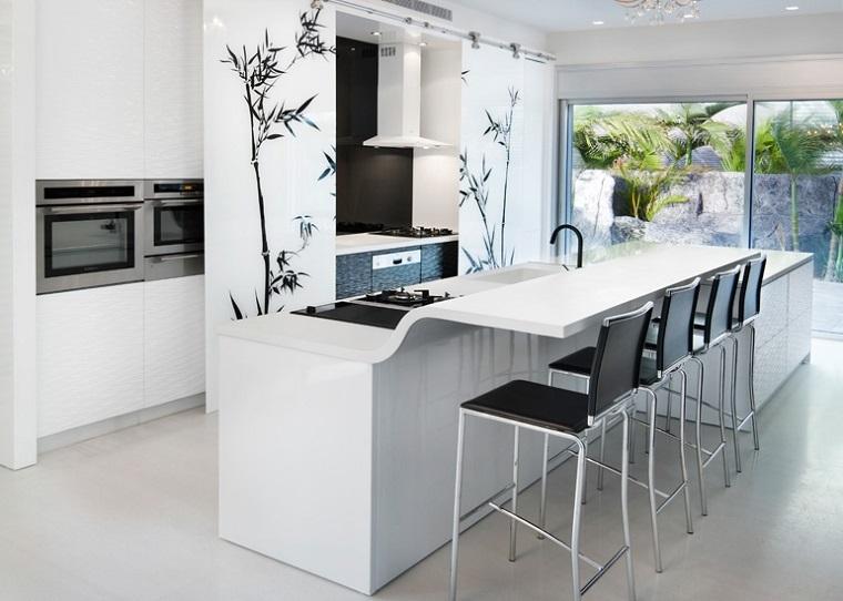 cocina blanca estilo minimalista decoracion pared ideas