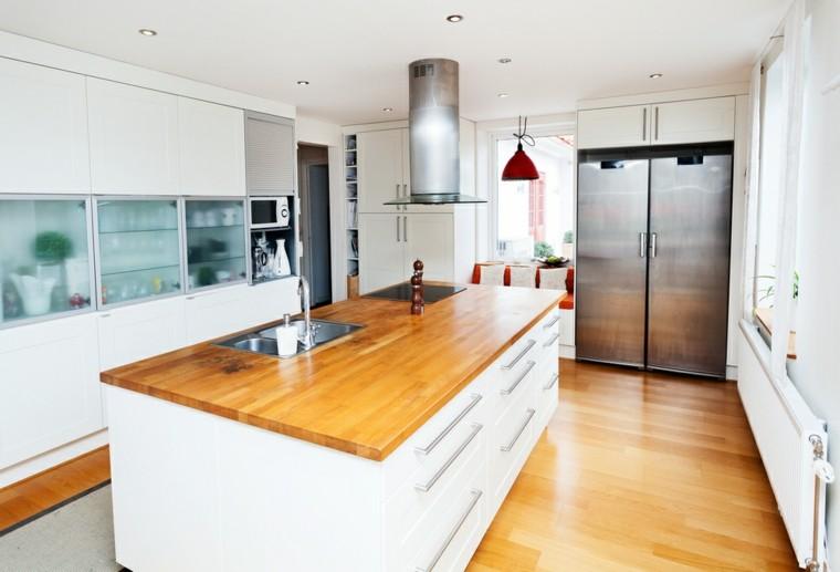 cocina blanca estilo minimalista encimera madera isla ideas