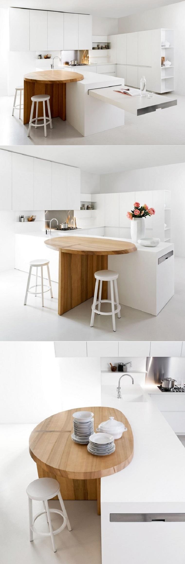 cocina blanca estilo minimalista encimera madera semicircular ideas