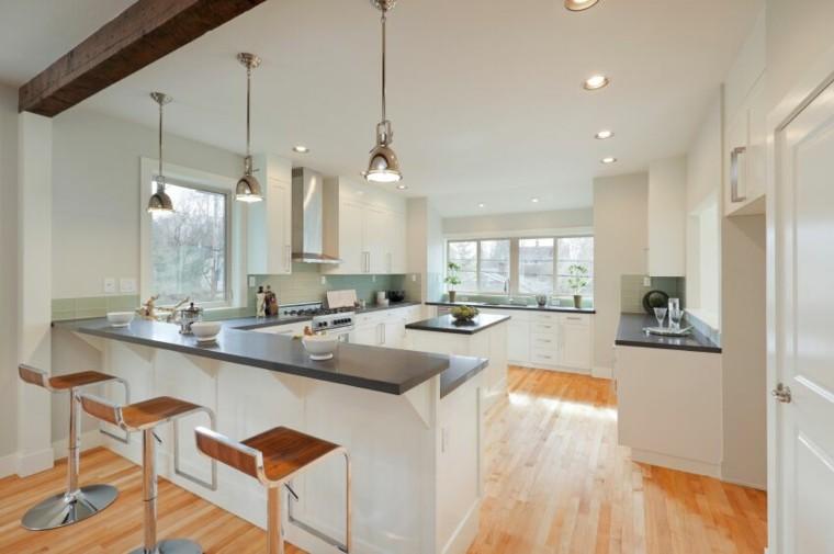 cocina blanca estilo minimalista encimeras granito negro ideas