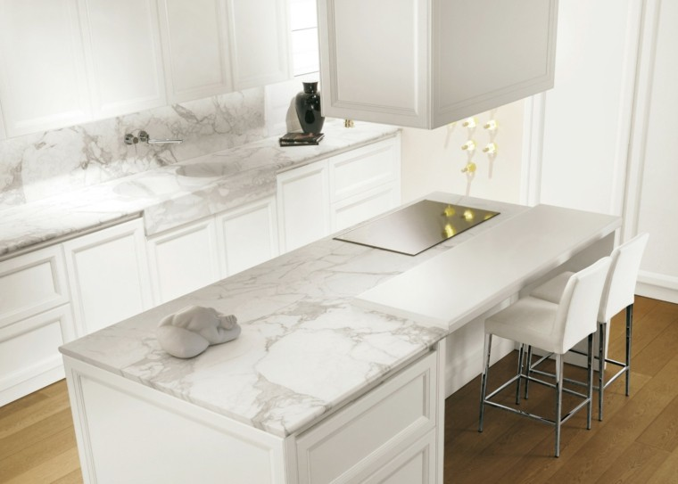 cocina blanca estilo minimalista encimeras marmol lujosa ideas