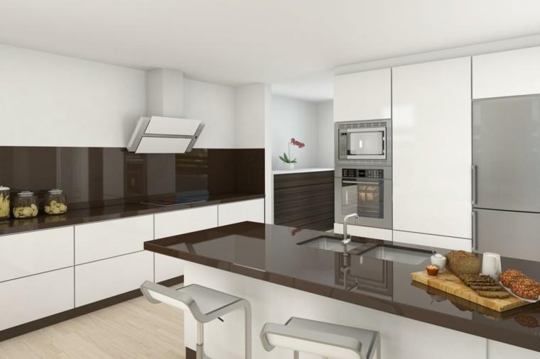 cocina blanca estilo minimalista encimeras marron ideas