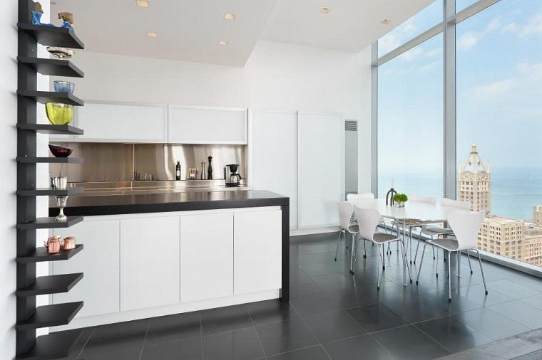 cocina blanca estilo minimalista estanterias negra ideas