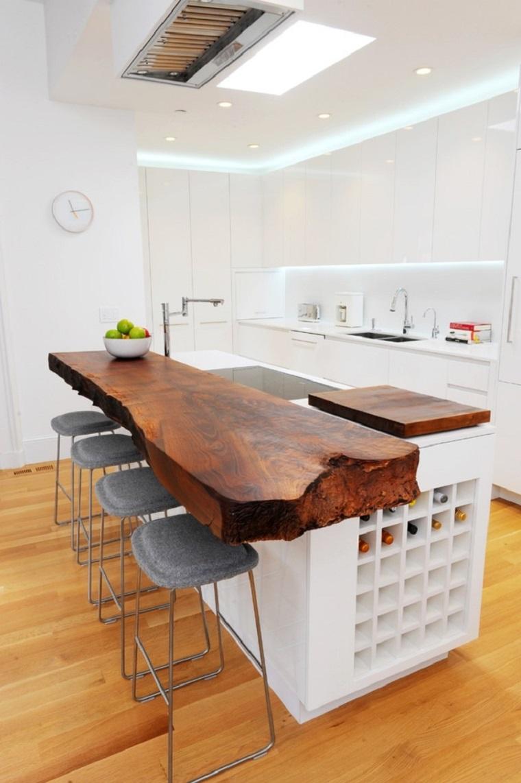 cocina blanca estilo minimalista estilo rustico madera ideas